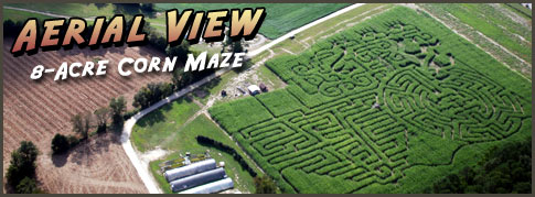 Aerial View of Green Hand Farm Park Corn Maze (Virginia)